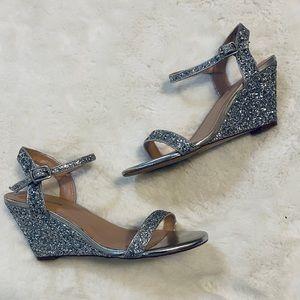 Lorraine Silver Glitter Wedge Heel Sandals sz 8